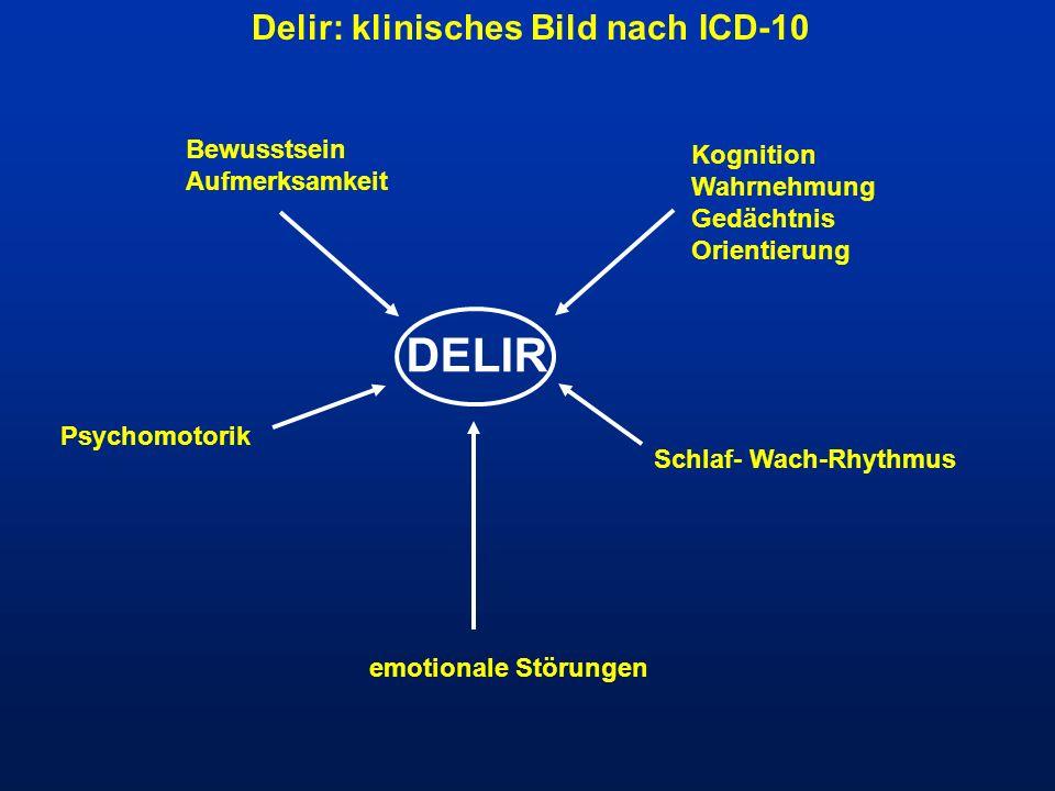 Delir: klinisches Bild nach ICD-10 Bewusstsein Aufmerksamkeit Kognition Wahrnehmung Gedächtnis Orientierung Schlaf- Wach-Rhythmus emotionale Störungen