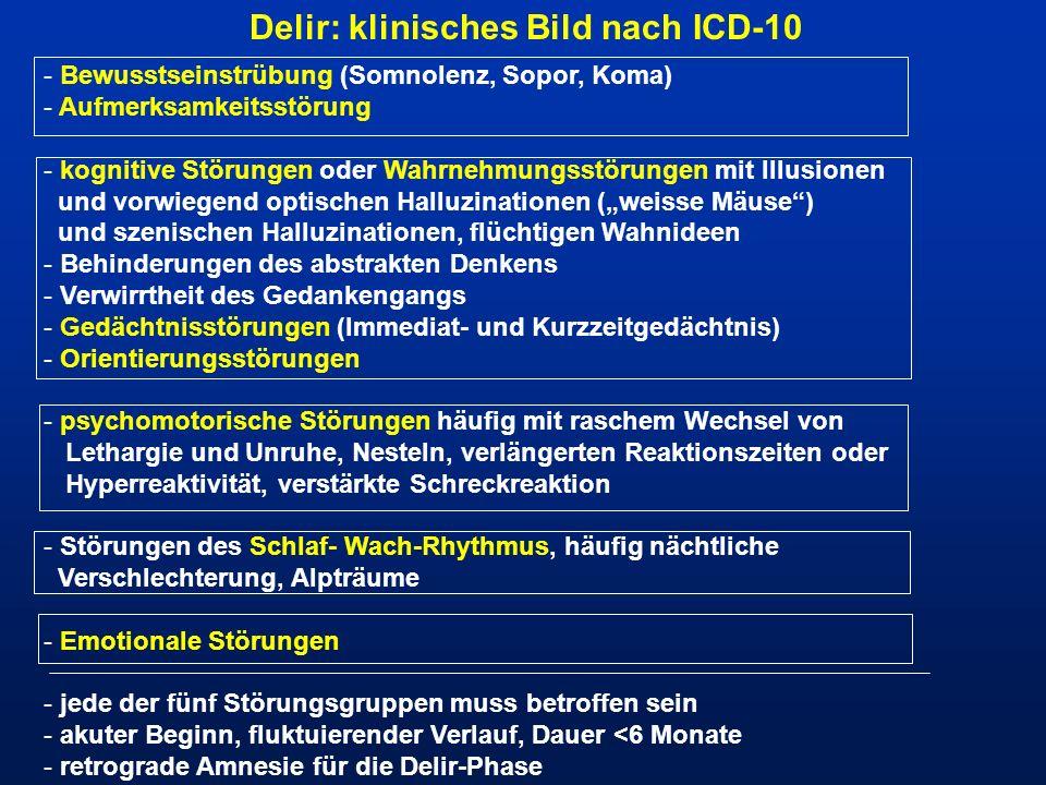 Delir: klinisches Bild nach ICD-10 - Bewusstseinstrübung (Somnolenz, Sopor, Koma) - Aufmerksamkeitsstörung - kognitive Störungen oder Wahrnehmungsstör
