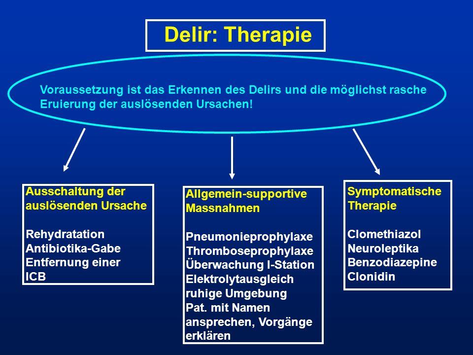 Delir: Therapie Voraussetzung ist das Erkennen des Delirs und die möglichst rasche Eruierung der auslösenden Ursachen! Ausschaltung der auslösenden Ur