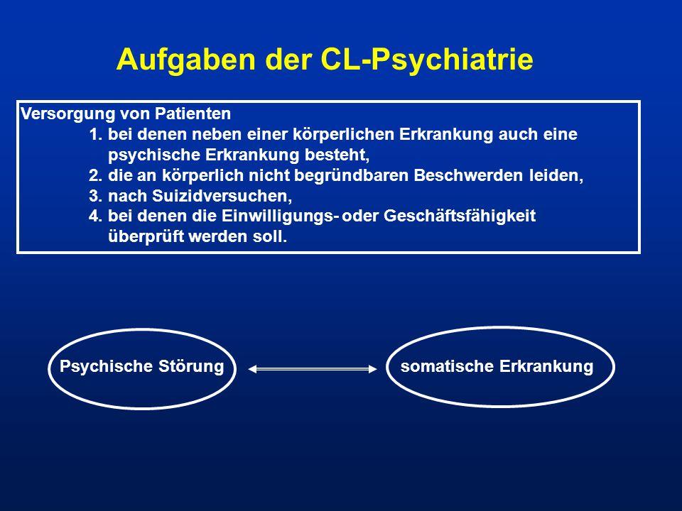 Aufgaben der CL-Psychiatrie Versorgung von Patienten 1. bei denen neben einer körperlichen Erkrankung auch eine psychische Erkrankung besteht, 2. die