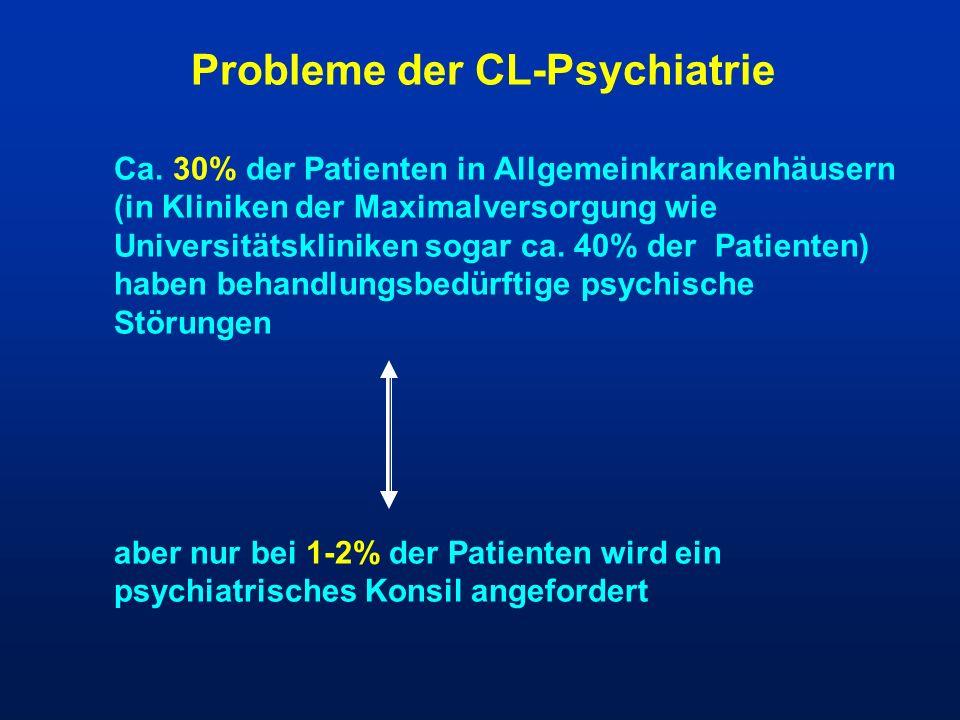 Probleme der CL-Psychiatrie Ca. 30% der Patienten in Allgemeinkrankenhäusern (in Kliniken der Maximalversorgung wie Universitätskliniken sogar ca. 40%
