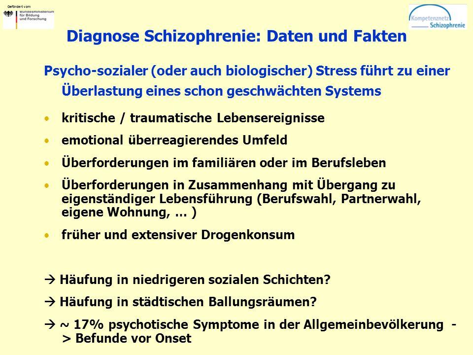 Gefördert vom Diagnose Schizophrenie: Daten und Fakten Psycho-sozialer (oder auch biologischer) Stress führt zu einer Überlastung eines schon geschwäc