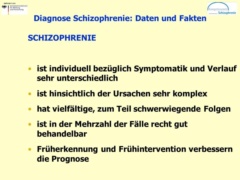 Gefördert vom Diagnose Schizophrenie: Daten und Fakten SCHIZOPHRENIE ist individuell bezüglich Symptomatik und Verlauf sehr unterschiedlich ist hinsic