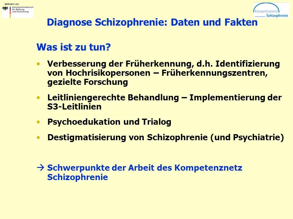 Gefördert vom Diagnose Schizophrenie: Daten und Fakten Was ist zu tun? Verbesserung der Früherkennung, d.h. Identifizierung von Hochrisikopersonen – F