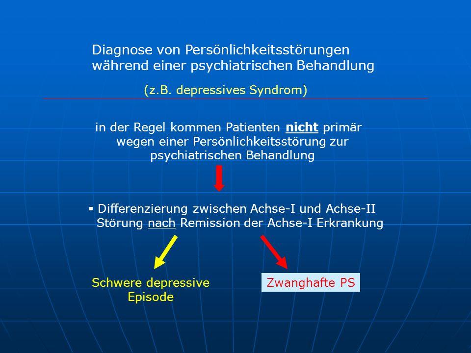 Diagnose von Persönlichkeitsstörungen während einer psychiatrischen Behandlung in der Regel kommen Patienten nicht primär wegen einer Persönlichkeitss