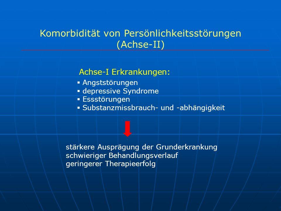 Komorbidität von Persönlichkeitsstörungen (Achse-II) Angststörungen depressive Syndrome Essstörungen Substanzmissbrauch- und -abhängigkeit stärkere Au