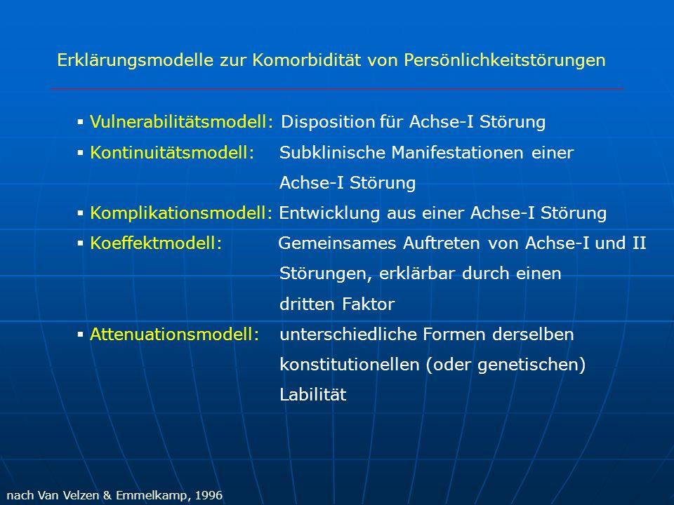 Erklärungsmodelle zur Komorbidität von Persönlichkeitstörungen nach Van Velzen & Emmelkamp, 1996 Vulnerabilitätsmodell: Disposition für Achse-I Störun
