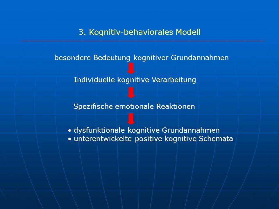 3. Kognitiv-behaviorales Modell besondere Bedeutung kognitiver Grundannahmen Individuelle kognitive Verarbeitung Spezifische emotionale Reaktionen dys