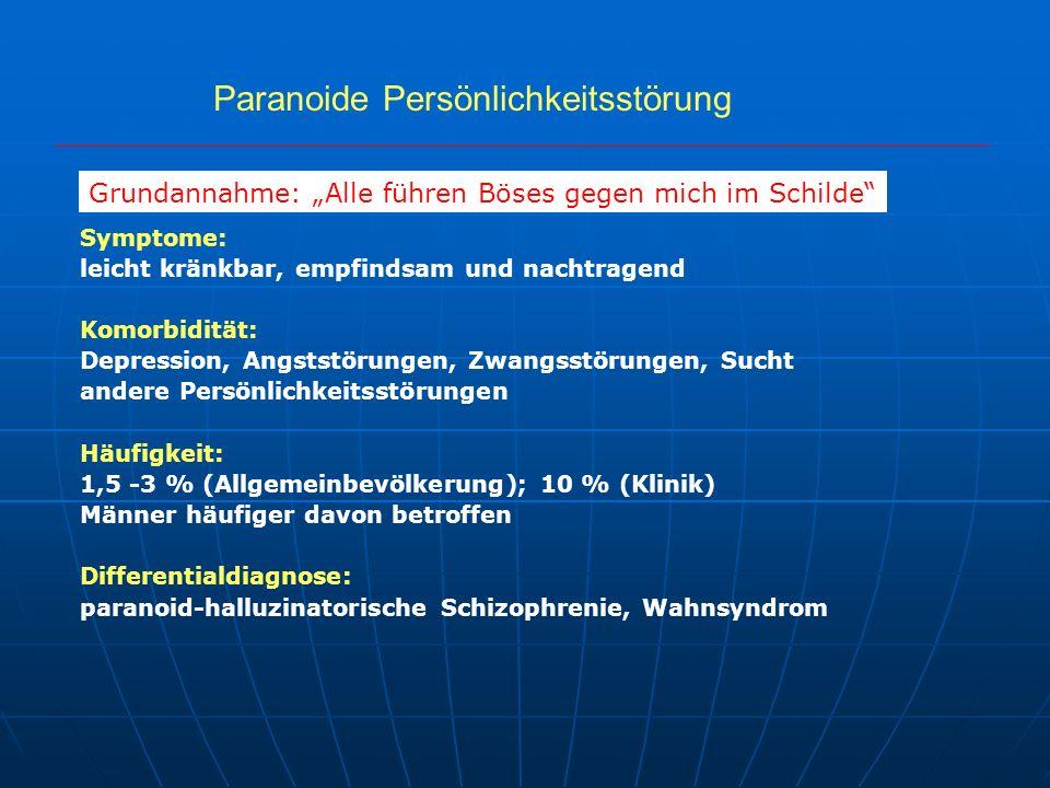 Paranoide Persönlichkeitsstörung Symptome: leicht kränkbar, empfindsam und nachtragend Komorbidität: Depression, Angststörungen, Zwangsstörungen, Such