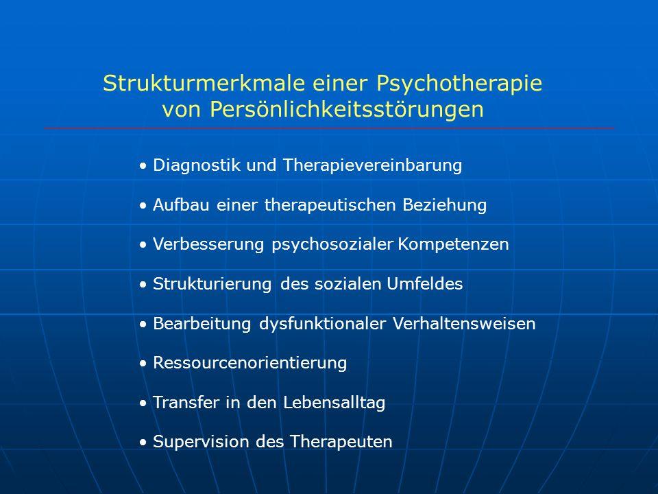 Strukturmerkmale einer Psychotherapie von Persönlichkeitsstörungen Diagnostik und Therapievereinbarung Aufbau einer therapeutischen Beziehung Verbesse