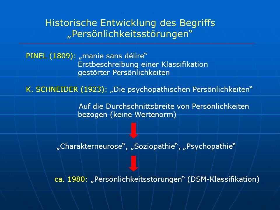 PINEL (1809): manie sans délire Erstbeschreibung einer Klassifikation gestörter Persönlichkeiten K. SCHNEIDER (1923): Die psychopathischen Persönlichk