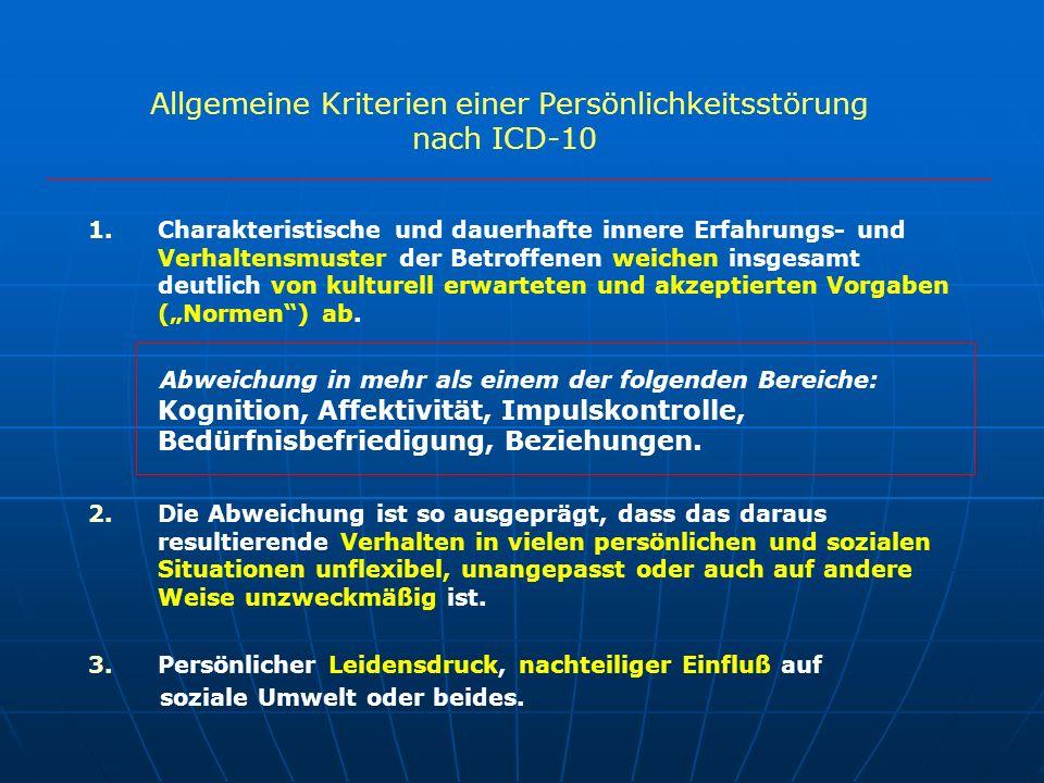 Allgemeine Kriterien einer Persönlichkeitsstörung nach ICD-10 1. 1.Charakteristische und dauerhafte innere Erfahrungs- und Verhaltensmuster der Betrof