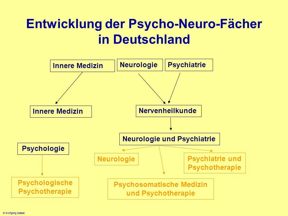 © Wolfgang Gaebel Entwicklung der Psycho-Neuro-Fächer in Deutschland Innere Medizin Neurologie Psychiatrie Innere Medizin Nervenheilkunde Neurologie u
