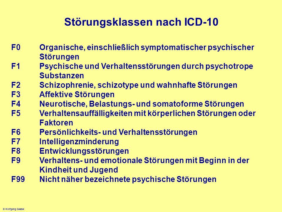 © Wolfgang Gaebel Störungsklassen nach ICD-10 F0Organische, einschließlich symptomatischer psychischer Störungen F1Psychische und Verhaltensstörungen