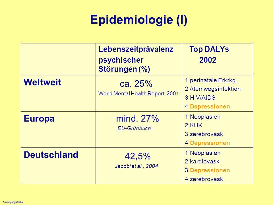 © Wolfgang Gaebel Epidemiologie (I) Lebenszeitprävalenz psychischer Störungen (%) Top DALYs 2002 Weltweit ca. 25% World Mental Health Report, 2001 1 p