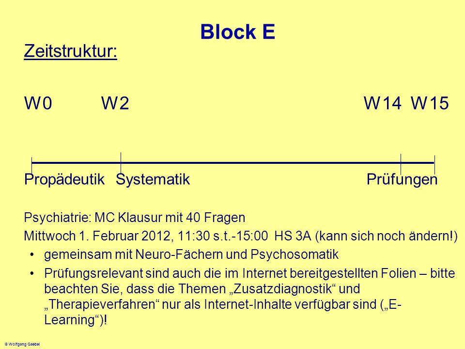 © Wolfgang Gaebel Block E Zeitstruktur: W0 W2 W14 W15 Propädeutik Systematik Prüfungen Psychiatrie: MC Klausur mit 40 Fragen Mittwoch 1. Februar 2012,