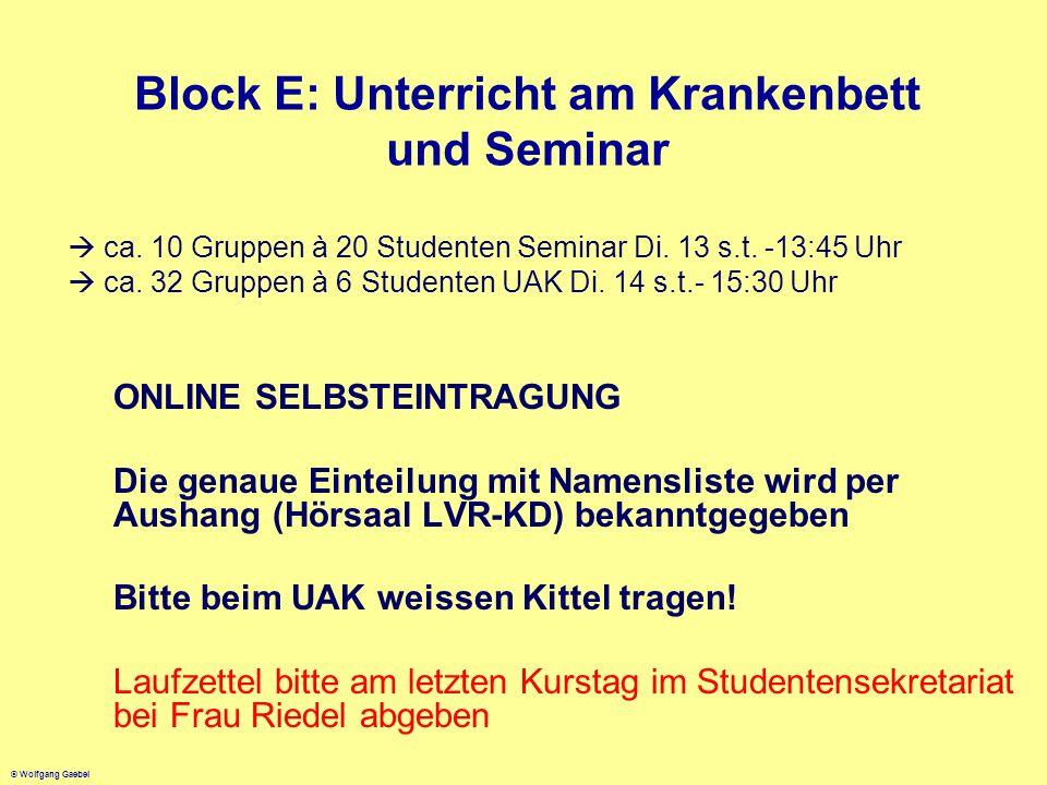 © Wolfgang Gaebel Block E: Unterricht am Krankenbett und Seminar ca. 10 Gruppen à 20 Studenten Seminar Di. 13 s.t. -13:45 Uhr ca. 32 Gruppen à 6 Stude