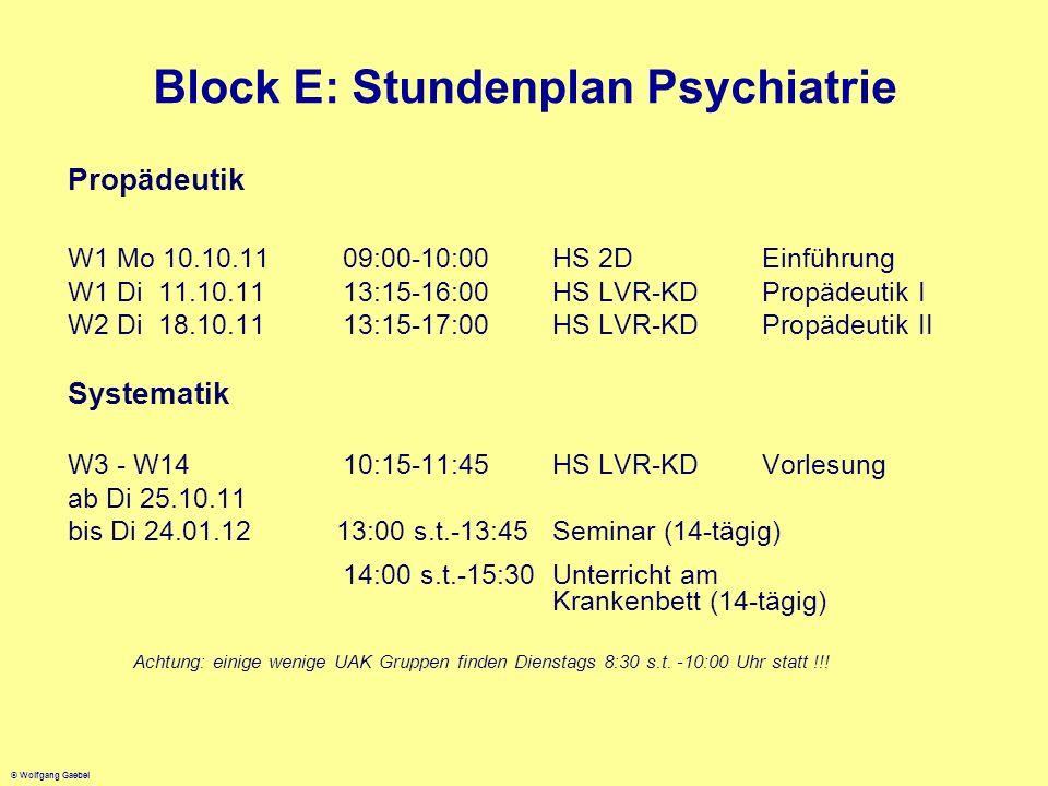 © Wolfgang Gaebel Block E: Stundenplan Psychiatrie Propädeutik W1 Mo 10.10.11 09:00-10:00HS 2D Einführung W1 Di 11.10.1113:15-16:00HS LVR-KD Propädeut