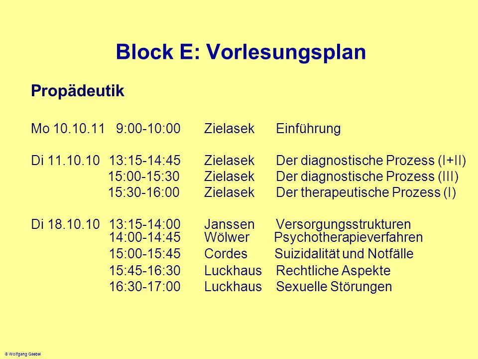© Wolfgang Gaebel Block E: Vorlesungsplan Propädeutik Mo 10.10.11 9:00-10:00Zielasek Einführung Di 11.10.1013:15-14:45Zielasek Der diagnostische Proze