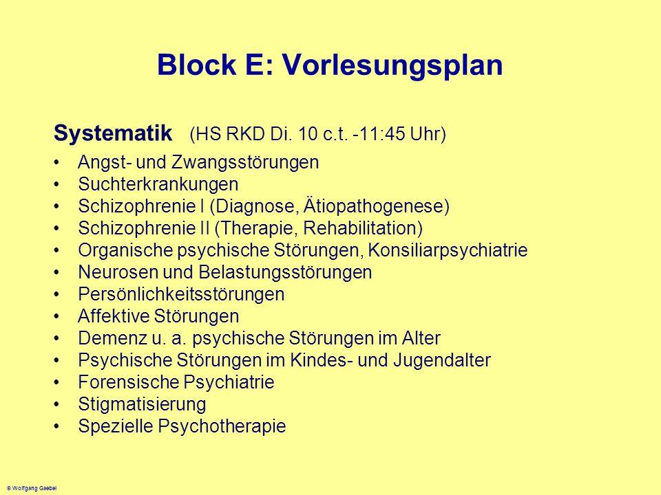 © Wolfgang Gaebel Block E: Vorlesungsplan Systematik (HS RKD Di. 10 c.t. -11:45 Uhr) Angst- und Zwangsstörungen Suchterkrankungen Schizophrenie I (Dia