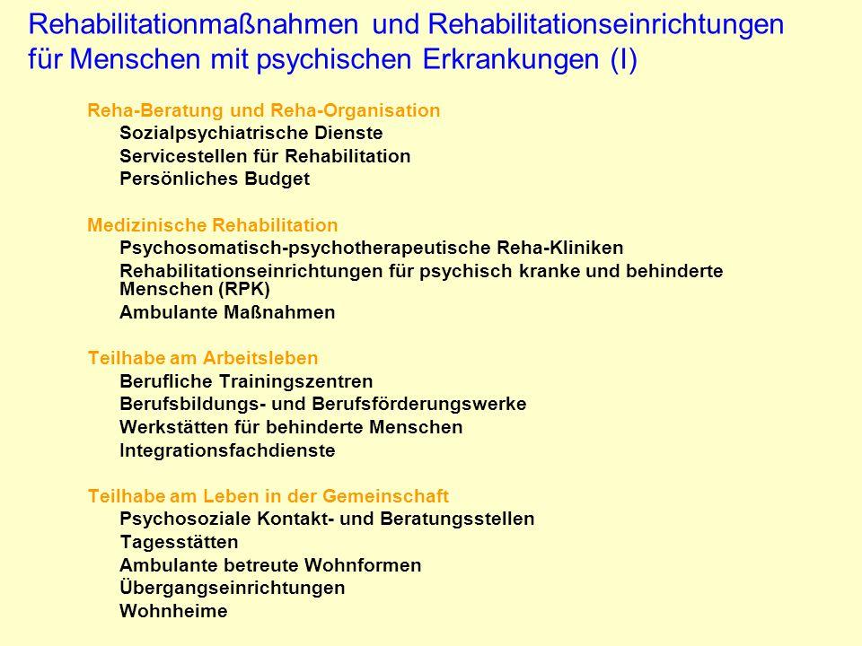 Rehabilitationmaßnahmen und Rehabilitationseinrichtungen für Menschen mit psychischen Erkrankungen (I) Reha-Beratung und Reha-Organisation Sozialpsych