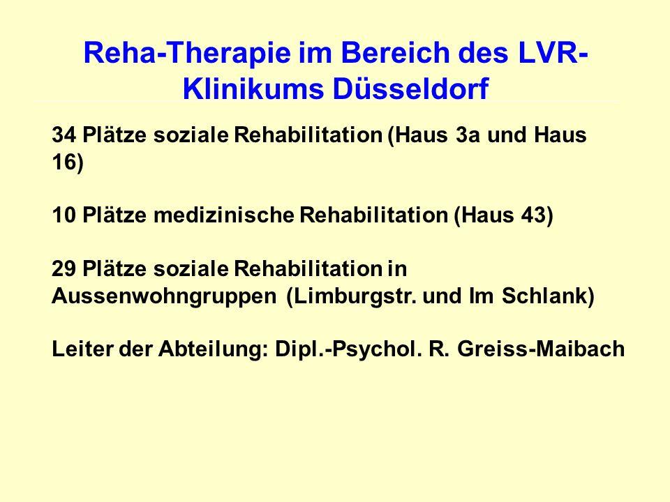 Reha-Therapie im Bereich des LVR- Klinikums Düsseldorf 34 Plätze soziale Rehabilitation (Haus 3a und Haus 16) 10 Plätze medizinische Rehabilitation (H