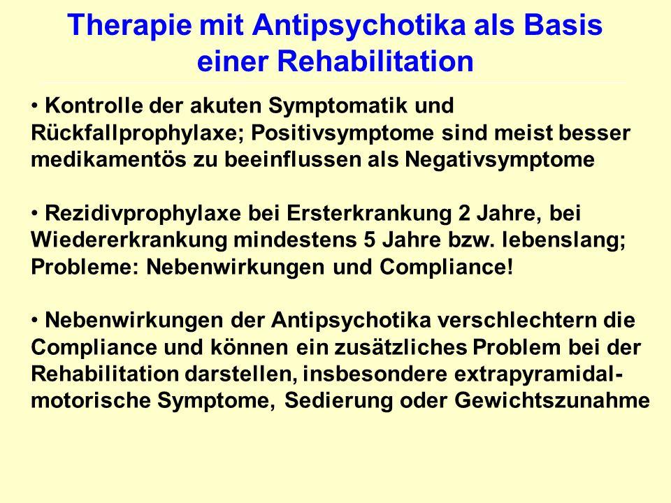 Therapie mit Antipsychotika als Basis einer Rehabilitation Kontrolle der akuten Symptomatik und Rückfallprophylaxe; Positivsymptome sind meist besser
