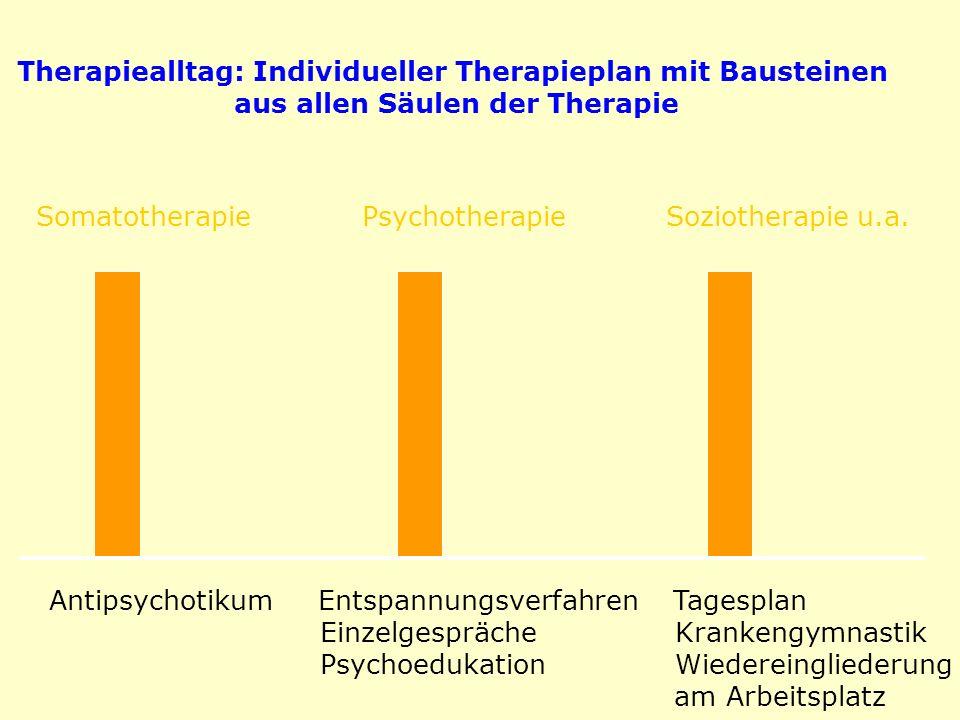 Somatotherapie Psychotherapie Soziotherapie u.a. Antipsychotikum Entspannungsverfahren Tagesplan Einzelgespräche Krankengymnastik Psychoedukation Wied