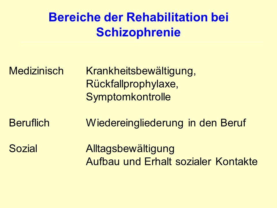 Bereiche der Rehabilitation bei Schizophrenie Medizinisch Krankheitsbewältigung, Rückfallprophylaxe, Symptomkontrolle Beruflich Wiedereingliederung in