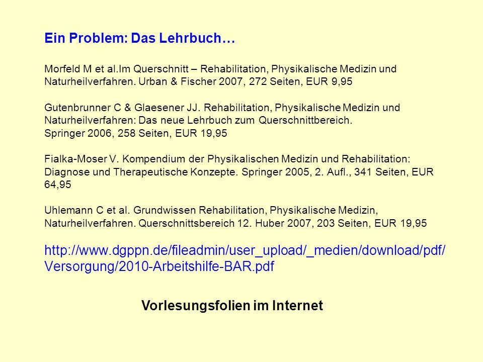 Ein Problem: Das Lehrbuch… Morfeld M et al.Im Querschnitt – Rehabilitation, Physikalische Medizin und Naturheilverfahren. Urban & Fischer 2007, 272 Se