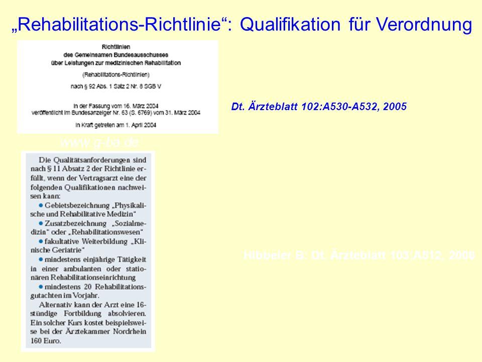 Hibbeler B: Dt. Ärzteblatt 103;A512, 2006 Rehabilitations-Richtlinie: Qualifikation für Verordnung www.g-ba.de Dt. Ärzteblatt 102:A530-A532, 2005