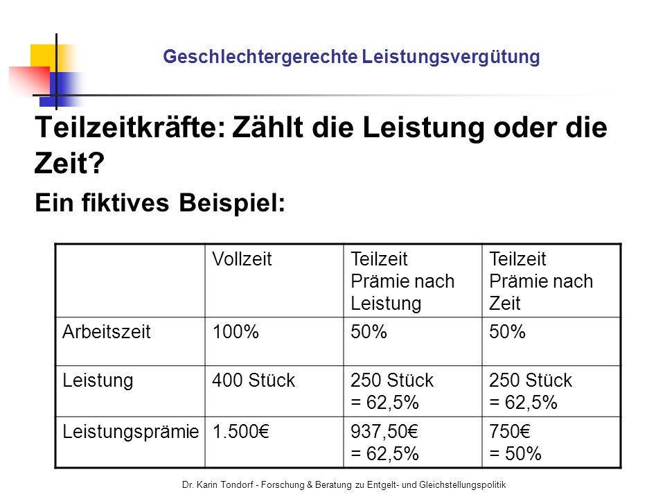 Dr. Karin Tondorf - Forschung & Beratung zu Entgelt- und Gleichstellungspolitik Geschlechtergerechte Leistungsvergütung Teilzeitkräfte: Zählt die Leis
