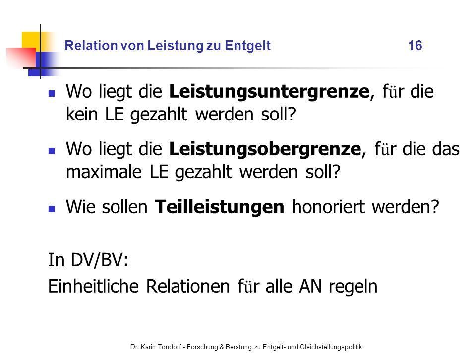 Dr. Karin Tondorf - Forschung & Beratung zu Entgelt- und Gleichstellungspolitik Relation von Leistung zu Entgelt 16 Wo liegt die Leistungsuntergrenze,
