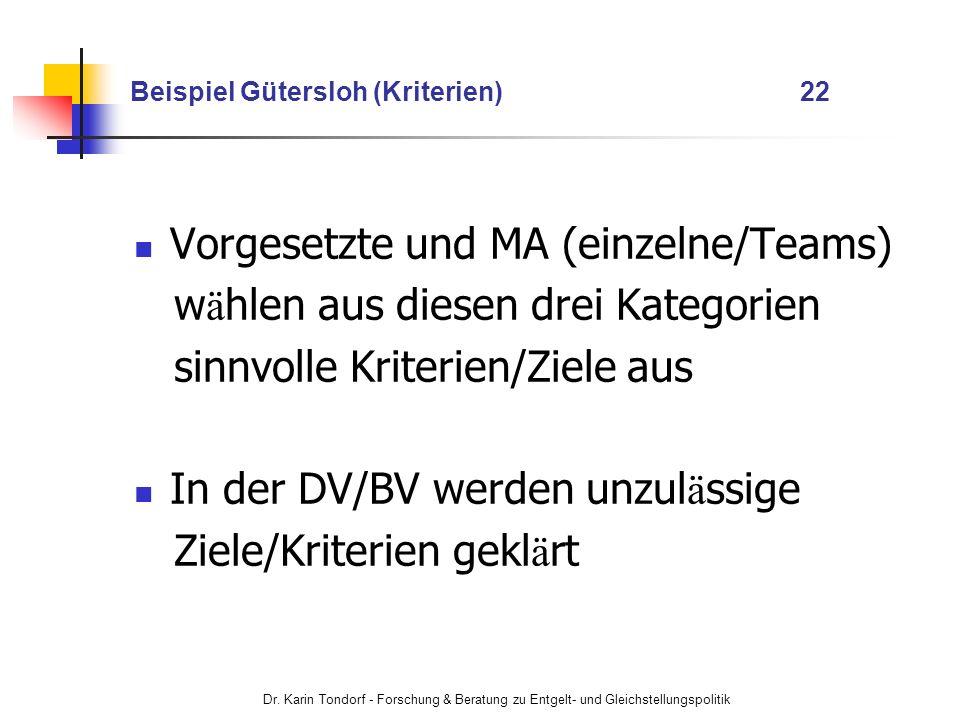 Dr. Karin Tondorf - Forschung & Beratung zu Entgelt- und Gleichstellungspolitik Beispiel Gütersloh (Kriterien) 22 Vorgesetzte und MA (einzelne/Teams)
