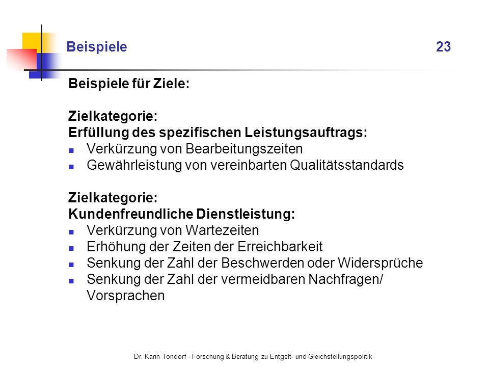 Dr. Karin Tondorf - Forschung & Beratung zu Entgelt- und Gleichstellungspolitik Beispiele 23 Beispiele für Ziele: Zielkategorie: Erfüllung des spezifi