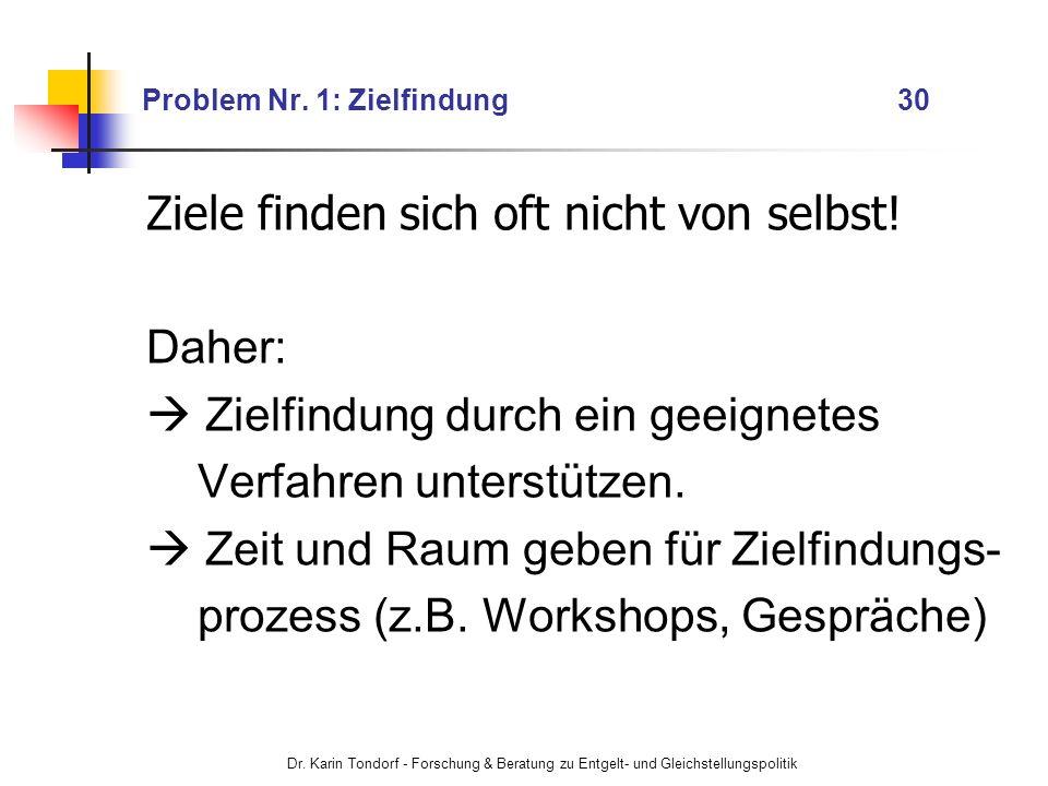 Dr. Karin Tondorf - Forschung & Beratung zu Entgelt- und Gleichstellungspolitik Problem Nr. 1: Zielfindung 30 Ziele finden sich oft nicht von selbst!