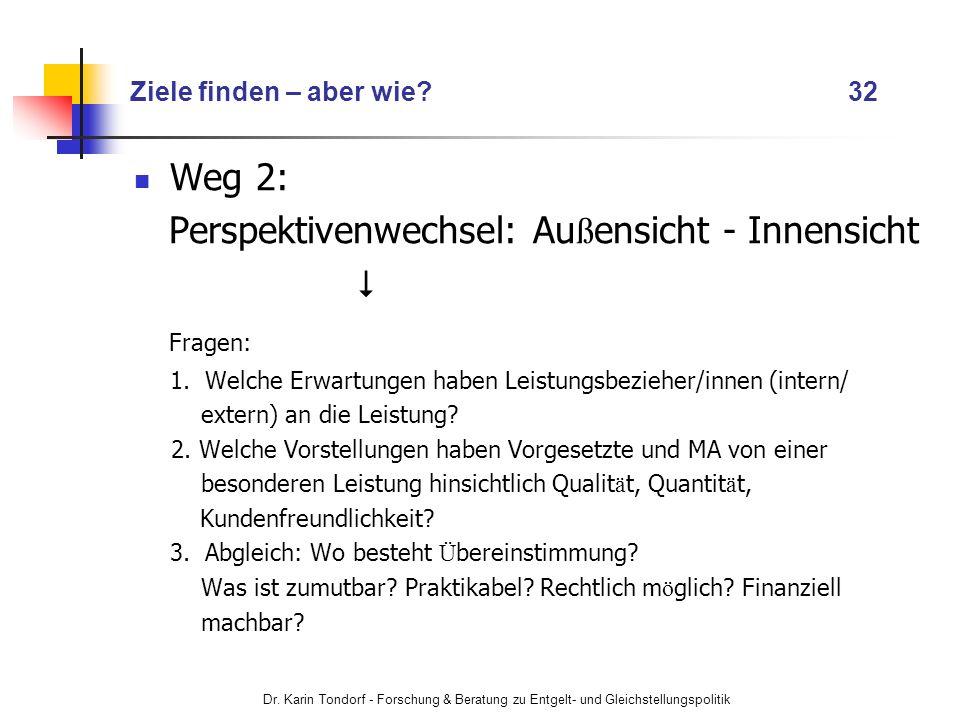 Dr. Karin Tondorf - Forschung & Beratung zu Entgelt- und Gleichstellungspolitik Ziele finden – aber wie? 32 Weg 2: Perspektivenwechsel: Au ß ensicht -