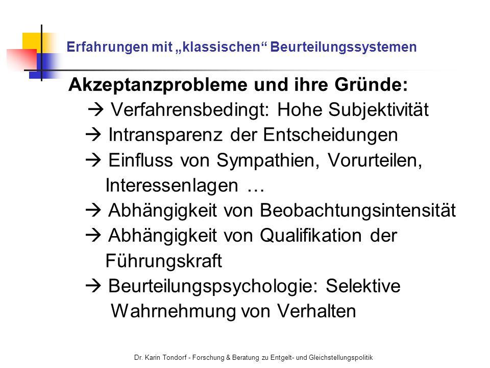Dr. Karin Tondorf - Forschung & Beratung zu Entgelt- und Gleichstellungspolitik Erfahrungen mit klassischen Beurteilungssystemen Akzeptanzprobleme und