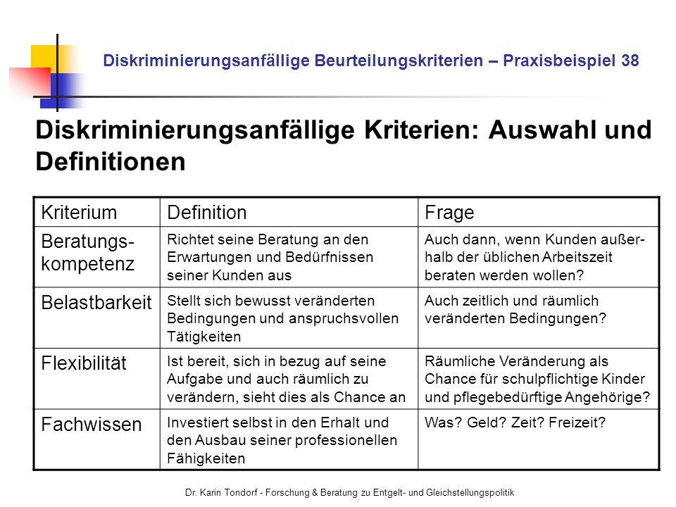 Dr. Karin Tondorf - Forschung & Beratung zu Entgelt- und Gleichstellungspolitik Diskriminierungsanfällige Beurteilungskriterien – Praxisbeispiel 38 Di