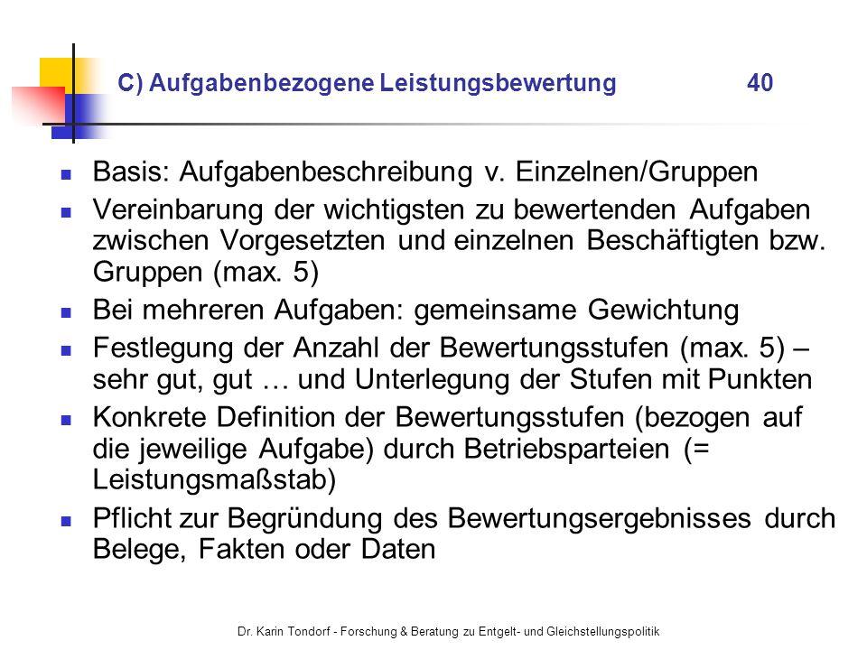 Dr. Karin Tondorf - Forschung & Beratung zu Entgelt- und Gleichstellungspolitik C) Aufgabenbezogene Leistungsbewertung 40 Basis: Aufgabenbeschreibung