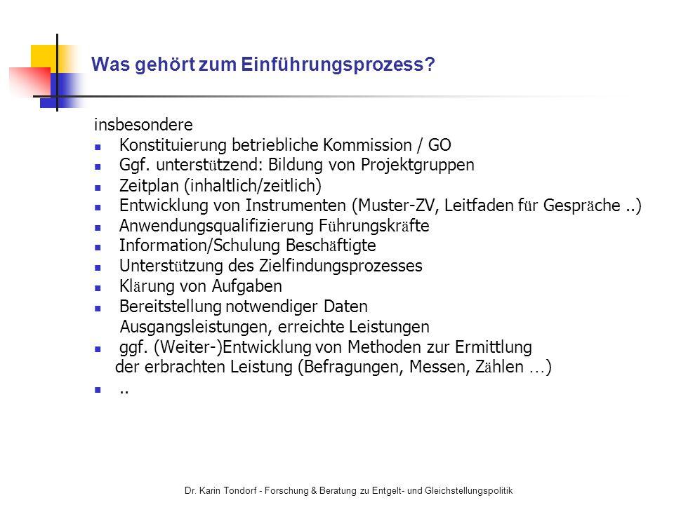Dr. Karin Tondorf - Forschung & Beratung zu Entgelt- und Gleichstellungspolitik Was gehört zum Einführungsprozess? insbesondere Konstituierung betrieb