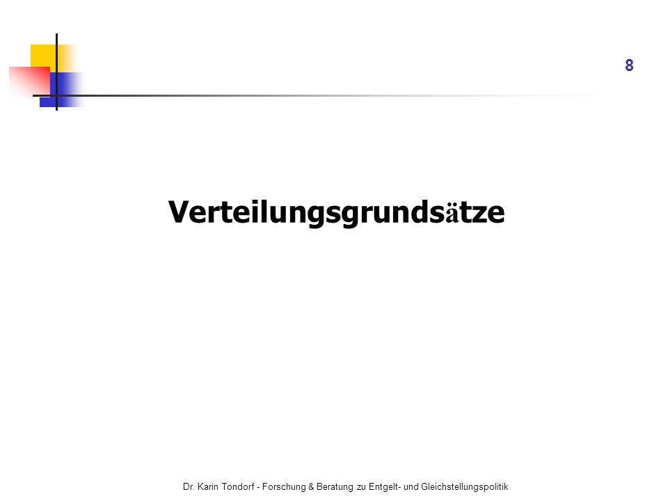 Dr. Karin Tondorf - Forschung & Beratung zu Entgelt- und Gleichstellungspolitik 8 Verteilungsgrunds ä tze