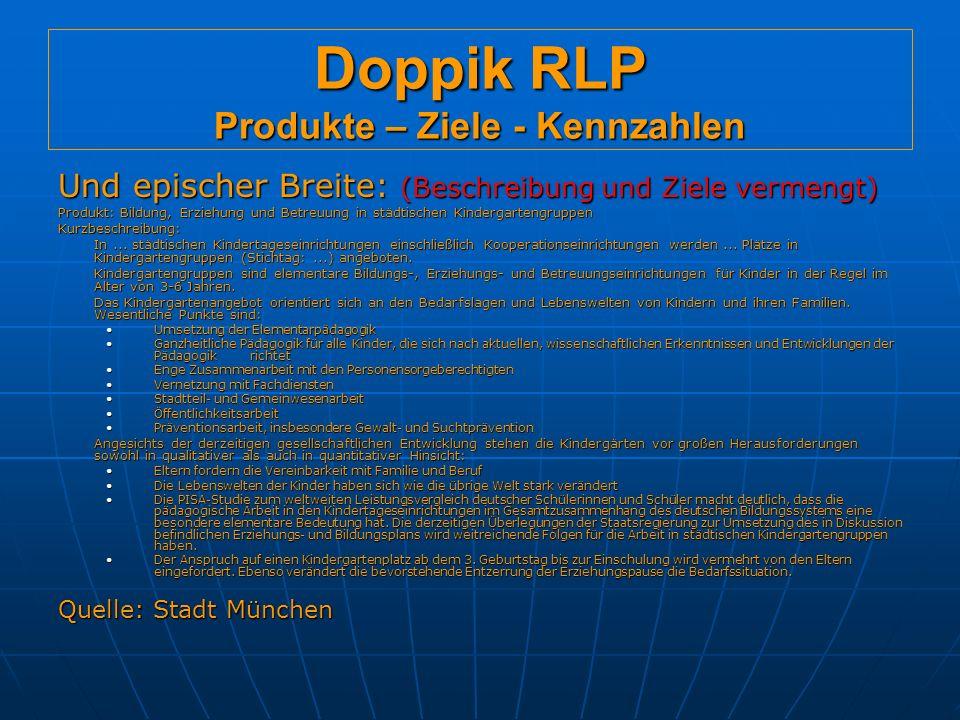 Doppik RLP Produkte – Ziele - Kennzahlen Und epischer Breite: (Beschreibung und Ziele vermengt) Produkt: Bildung, Erziehung und Betreuung in städtischen Kindergartengruppen Kurzbeschreibung: In...