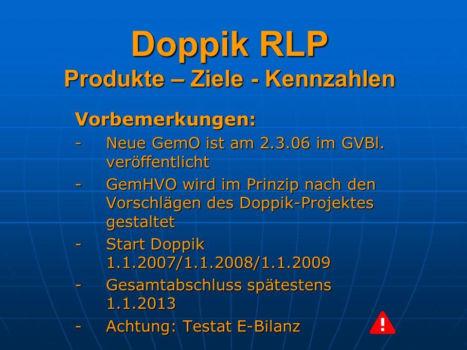 Doppik RLP Produkte – Ziele - Kennzahlen Kennzahlen dienen dazu, Die Zielerreichung zu überprüfen Die Zielerreichung zu überprüfen Verbesserungspotentiale zu erkennen Verbesserungspotentiale zu erkennen Ziele ggf.