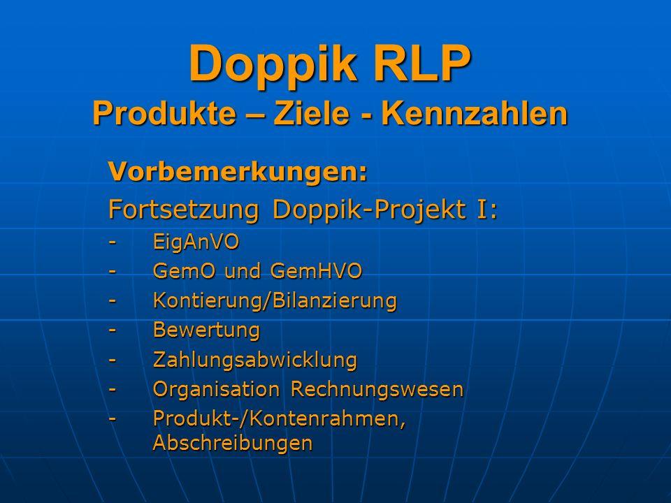 Doppik RLP Produkte – Ziele - Kennzahlen Vorbemerkungen: Fortsetzung Doppik-Projekt I: -EigAnVO -GemO und GemHVO -Kontierung/Bilanzierung -Bewertung -Zahlungsabwicklung -Organisation Rechnungswesen -Produkt-/Kontenrahmen, Abschreibungen