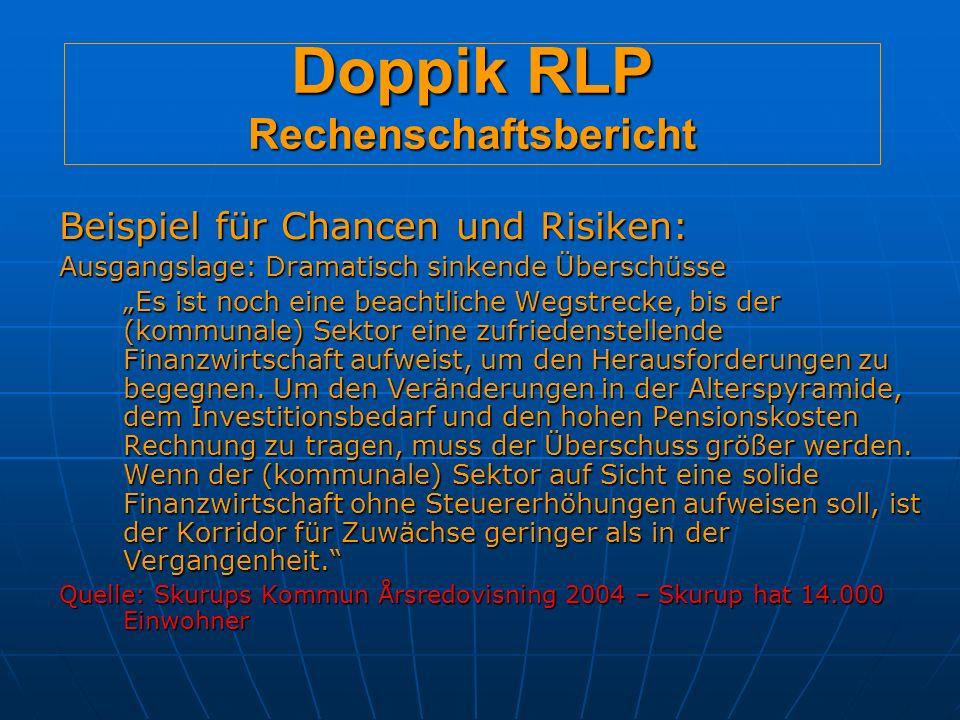 Doppik RLP Rechenschaftsbericht Beispiel für Chancen und Risiken: Ausgangslage: Dramatisch sinkende Überschüsse Es ist noch eine beachtliche Wegstrecke, bis der (kommunale) Sektor eine zufriedenstellende Finanzwirtschaft aufweist, um den Herausforderungen zu begegnen.