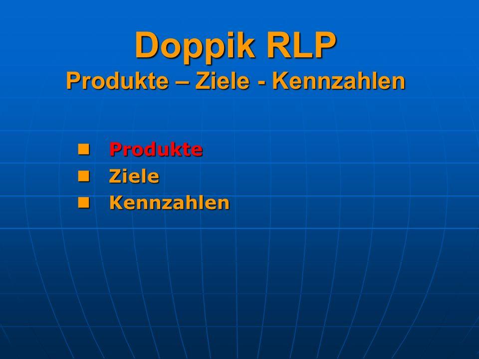 Doppik RLP Produkte – Ziele - Kennzahlen Beispiele für quantitative Ziele: Mengenziele (Anzahl der Plätze in Heimen) Wertziele (Verkaufserlöse Bauland) Zeitziele (Bearbeitungsdauer von Anträgen) Kostenziele (Zielkosten/Kostendeckungsgrad) Sollten der KLR zu entnehmen sein