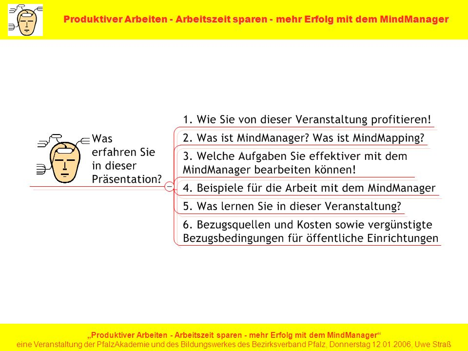 Produktiver Arbeiten - Arbeitszeit sparen - mehr Erfolg mit dem MindManager Produktiver Arbeiten - Arbeitszeit sparen - mehr Erfolg mit dem MindManager eine Veranstaltung der PfalzAkademie und des Bildungswerkes des Bezirksverband Pfalz, Donnerstag 12.01.2006, Uwe Straß