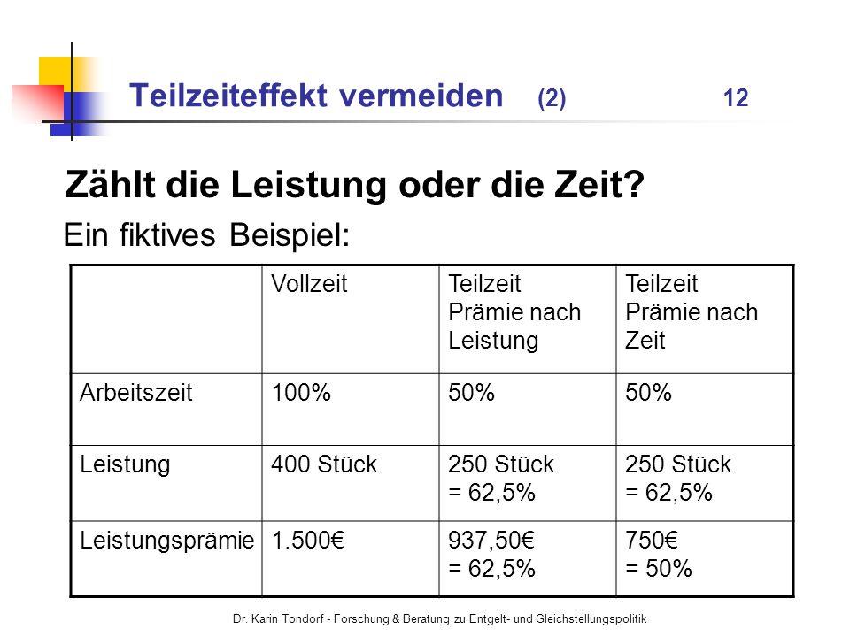 Dr. Karin Tondorf - Forschung & Beratung zu Entgelt- und Gleichstellungspolitik Teilzeiteffekt vermeiden (2) 12 Zählt die Leistung oder die Zeit? Ein