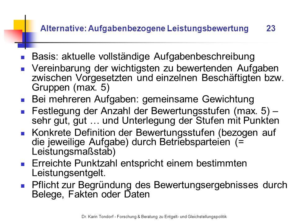 Dr. Karin Tondorf - Forschung & Beratung zu Entgelt- und Gleichstellungspolitik Alternative: Aufgabenbezogene Leistungsbewertung 23 Basis: aktuelle vo